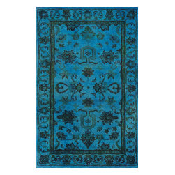 Rugsville - Rugsville Aqua Breeze Wool Overdyed 12249 Rug 3x5 - Rugsville traditional design is a real work of art. Mixture of traditional design with a contemporary effect dyed a masterpiece. Because of sapphire blue color, and floral design of the rug, it looks really different from others. Made of wool with nice texture, this rug is very easy to clean and a piece suitable for every room. This rug is fully Hand-knotted in India and is one of the premium products by Rugsville.