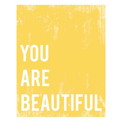 Rebecca Peragine Inc / Children Inspire Design - You Are Beautiful 11x14 Children's Wall Art Print - Inspirational art for the whole family! A cheery dose of sun-shiney yellow is the backdrop to tell the world that each and every one of us is beautiful.  11x14 Wall Art Print.