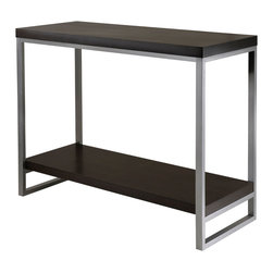 """Winsome - Jared Console Table, Enamel Steel Tube - Jared line of contemporary occasional tables is made with pewter color enamel finished metal tube frames and black wood tops. The Console/Hall Table has a wooden bottom shelf for display storage. The top shelf at 30""""high is great for floral, photo, and art display. Overall dimensions: 40""""L x 15.98""""D x 30""""H. Easily assembled.; Features: Finish: Black/Metal; Material: Metal / MDF; Assembly Required?: Yes.; Dimensions: 40""""L x 16""""W x 30.5""""H"""