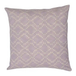 Lavender Rain Pillow - There's something about the color lavender that makes you feel ... ahhh. Let this lovely, handmade pillow bring a soft elegance to your sofa, or blend with a select few to make your bedroom beautiful. You can feel good about it, too; it's made of 100 percent fairly traded cotton!