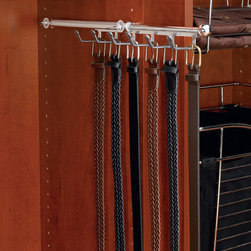 """Belt and Scarf Organizer, 13-3/4"""" - Satin Nickel - Rev-A-Shelf's pullout Belt/Scarf Organizers features 5 or 6 hooks. They have a fully accessible 8-3/16"""" (6-3/4"""" for 12"""" depth) telescoping rod with clear non-slip soft PVC coated hooks. They are available in Chrome, Satin Nickel and Oil Rubbed Bronze and are designed for 12"""" and 14"""" depth closet panels. They feature adjustable mounting brackets for mounting capabilities in various system hole applications and install easily with two Euro screws."""