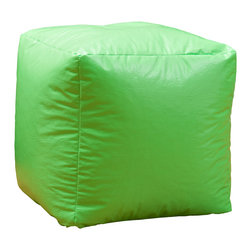 Great Deal Furniture - Jamie Green Vinyl Square Kids Bean Bag - The Jamie bean bag provides you or your child a comfortable seat in any room. The puncture-proof vinyl cover is durable for any child with a combination of long-lasting polystyrene beans. Perfect for the bedroom, home theater rooms, family and game rooms.