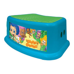 Bubble Guppies - Bubble Guppies Fin-Tastic Step Stool - Little ones can get a boost with this sweet step stool. Skid-resistant with a nonslip surface, it's ideal for helping cuties increase their reach safely.   14.25'' W x 9.75'' H x 5.25'' D Polypropylene / TPR Imported