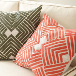 Ballard Designs - Lulu Embroidered Pillow - Cover Only - Hidden zipper. Plush feather down insert sold separately. For a quick way to dial up the color and energy in your room, our geometric Lulu Embroidered Pillow Cover is a beautifully affordable solution. The bold chevrons are chain stitched on neutral, natural 100% linen. Lulu Embroidered Pillow features: . .