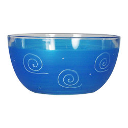 """Frosted Curl Turquoise 6"""" Bowl - This lovely hand painted 6"""" bowl is one of our top sellers.  It is turquoise with accent colors and adorned with curls and dots.  Perfect for any season or occasion. It also works perfectly as a dessert dish.  Something to be handed down from generation to generation.  Proudly hand painted in the USA."""