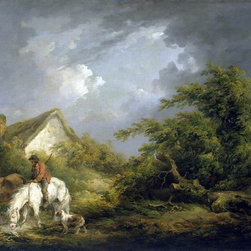 """George Morland Before a Thunderstorm - 16"""" x 24"""" Premium Archival Print - 16"""" x 24"""" George Morland Before a Thunderstorm premium archival print reproduced to meet museum quality standards. Our museum quality archival prints are produced using high-precision print technology for a more accurate reproduction printed on high quality, heavyweight matte presentation paper with fade-resistant, archival inks. Our progressive business model allows us to offer works of art to you at the best wholesale pricing, significantly less than art gallery prices, affordable to all. This line of artwork is produced with extra white border space (if you choose to have it framed, for your framer to work with to frame properly or utilize a larger mat and/or frame).  We present a comprehensive collection of exceptional art reproductions byGeorge Morland."""