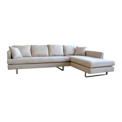Baxton Studio - Baxton Studio Cream Micro Fiber Sectional Sofa with Pillows - Adds function and contemporary style to your home furniture collection.  Constructed of a durable hardwood frame.  Elegant twill removable covers blends with any home decor.  Lateral rubber spring support system and high density foam cushioning.  Back has a sturdy rubber lattice support.  This set is great for curling up in front of a fire or enjoying cocktails with friends.  The perfect combination of quality craftsmanship with simple and sophisticated designs, will instantly enhance your living space.  If you are looking for a quality product which speaks of style and glamour without being too loud, then this is the perfect choice.