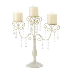 Koolekoo - Ivory Elegance Candelabra Candleholder - Dripping with glittering crystals, graceful ivory curlicues create a showy support for a trio of candles. Delightfully extravagant with a touch of Old-World elegance!