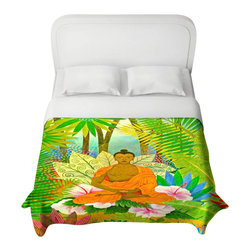 DiaNoche Designs - Buddha in the Jungle Duvet Cover - Lightweight and super soft brushed twill duvet cover sizes twin, queen, king. Cotton poly blend. Ties in each corner to secure insert. Blanket insert or comforter slides comfortably into duvet cover with zipper closure to hold blanket inside. Blanket not included. Dye Sublimation printing adheres the ink to the material for long life and durability. Printed top, khaki colored bottom. Machine washable. Product may vary slightly from image.