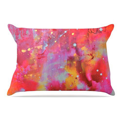 """Kess InHouse - Kira Crees """"Falling Paradise"""" Pink Orange Pillow Case, King (36"""" x 20"""") - This pillowcase, is just as bunny soft as the Kess InHouse duvet. It's made of microfiber velvety fleece. This machine washable fleece pillow case is the perfect accent to any duvet. Be your Bed's Curator."""