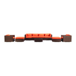 "Kardiel - Modify-It Modern Patio Furniture Sofa Outdoor Kauai 9-pc Set, Espresso/ Orange - Introducing Kauai the 9-piece full size outdoor entertaining suite. Gather in comfort and modern style. A substantial Grande' length 4-seat sofa forms the centerpiece of the set. 2 generously sized ottomans transform the 2 armchairs into lounges. A matching coffee table placed in the center connects all elements of the classic modern style.  The flexible nature of Modify-It modular allows for customized reconfiguring of the layout at will. The design origins are Clean European. The elements of comfort are inspired by the relaxed style of the Hawaiian Islands. The Aloha series comes in many configurations, but all feature a minimalist frame and thick, ample modern cube cushions. The back cushions are consistent in shape, not tapered in to create the lean back angle. Rather the frame itself is specifically ""lean tapered"" allowing for a full cushion, thus a more comfortable lounging experience. The cushion stitch style utilizes smooth and clean hand tailoring, without extruding edge piping. The generously proportioned frame is hand-woven of colorfast, PE Resin wicker. The fabric is Season-Smart 100% Outdoor Polyester and resists mildew, fading and staining. The ability to modify configurations may tempt you to move the pieces around... a lot. No worries, Modify-It is manufactured with a strong but lightweight, rust proof Aluminum frame for easy handling."