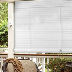 None - White Faux Bamboo Outdoor Roll Up Patio Shade - The natural insulation properties of this bamboo shade effectively blocks and traps heat. Roll up shades have a half size difference to allow inside mounts and the shade is easy to clean for your convenience.