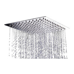 "AKDY - AKDY Square Polished Stainless Steel Chrome Finish Shower Head, 9 3/4"", Without - The AKDY shower head is the ultimate study in simplicity. With clear rubber nozzles spread over an 9.75"" square surface, this shower head delivers a strong downpour of water. Sleek in design, and highly functional, this model was meant for people who want one thing: an amazing shower experience without unnecessary frills."