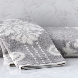 Frontgate - Blythe Two-tone Damask Hand Towel - Color palette coordinates with our Resort Towel Collection (Solid, Spa and Stripe versions). Constructed from 100% long-staple Turkish cotton with Aerocotton technology. 600 grams per square meter, ideally suited for absorbency without extended dry times. Colors reverse on the back. Machine wash. The ultrasoft Blythe Two-tone Sculpted Towel creates color dimension with a sculpted two-tone damask pattern. Coordinating with our Resort Collection, this exceptional towel is woven to 600 grams per square meter with Aerocotton technology. The special spinning process creates extra-long yarns with a luxuriously soft hand, superior absorbency and quick-drying properties.  .  .  .  .  . Made in Turkey.