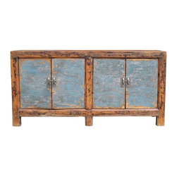 Mortise & Tenon - Industrial Asian Buffet - A beautiful mix of new and vintage wood, this one of a kind Asian cabinet is the perfect statement piece for any room. Built in mix hardwoods with a distressed painted finish with two doors with one interior shelf in each section.