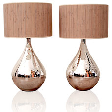 contemporary table lamps Silver Mercury Lamps with Reed Shade