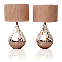 Silver Mercury Lamps with Reed Shade -
