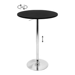 Lumisource - Adjustable Bar Table w/ Black Top - The Adjustable Bar Table is versatile for many uses.  Its non-swivel top provides extra stability while its hydraulic lift provides various height settings allowing for an intimate table for two or a bar table at a party!