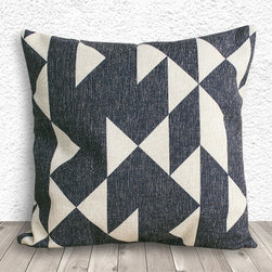 Geometric Pillow Cover 041 by 5C Home Decor - This linen cotton pillow cover features a fantastic gray and cream geometric design. It would look so fun on a couch full of comfy pillows.