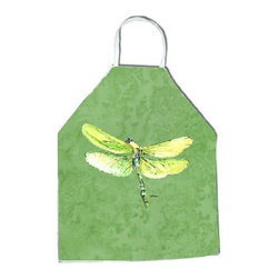 "Caroline's Treasures - Dragonfly on Avacado Apron - Apron, Bib Style, 27""H x 31""W; 100% Ultra Spun Poly, White, braided nylon tie straps, sewn cloth neckband. These bib style aprons are not just for cooking - they are also great for cleaning, gardening, art projects, and other activities, too!"
