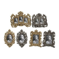 Hallet Frames - Set of 6 - These modern cast frames inspired by antique pewter photo frames, are a beautiful addition to a buffet or curio cabinet.