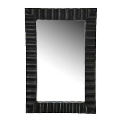 Used Mecox Gardens Wavy Zinc Mirror - This versatile mirror will fit in with any design scheme and it can also be hung vertically or horizontally to fit your personal needs. We have 2 mirrors available. Please contact support to purchase the set. Please note that this item is currently installed at a special event and will not be available for shipping until September 3.
