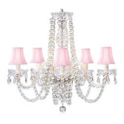 "The Gallery - New! Authentic All Crystal Chandelier Lighting Chandeliers with Pink Shades! - A Great European Tradition. Nothing is quite as elegant as the fine crystal chandeliers that gave sparkle to brilliant evenings at palaces and manor houses across Europe. This unique version from the Royal Collection features hand blown crystal tube arms is decorated with various hand-cut and polished 24% lead crystal that capture and reflect the light of the candle bulbs, each resting in a scalloped bobache.The timeless elegance of this chandelier is sure to lend a special atmosphere anywhere it is placed! SIZE:H.25"" X W.24"" 5 LIGHTS SHIPPING 25.00 assembly required sku# A46-PINKSHADES/384/5 **SHADES INCLUDED** Lightbulbs not included"