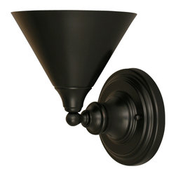 """Toltec - Toltec 40-MB-421 Wall Sconce Shown in Matte Black Finish with 7"""" Metal Shade - Toltec 40-MB-421 Wall Sconce Shown in Matte Black Finish with 7"""" Metal Shade"""
