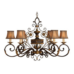 Fine Art Lamps - Castile Chandelier, 218540ST - Do you curlicue? If so, this antiqued and gold-leaf chandelier — inspired by the castles of long-ago Spain — will surely suit your taste. The center urn is surrounded by graceful arms and hand-sewn, braid-trimmed silk shades.