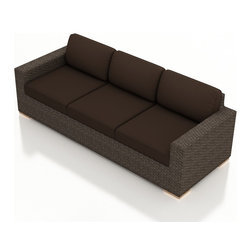 Harmonia Living - Arden Modern Wicker Sofa, Coffee Cushions - The Arden Outdoor Patio Sofa with Brown Sunbrella® Cushions (SKU HL-ARD-S-CH-CO) adds a spacious, comfortable seat for your outdoor space. Its beautiful wicker is finished with a weathered Chestnut finish and is made from High-Density Polyethylene (HDPE), which ensures that the wicker will neither fade nor peel in regular sun exposure. What makes the Arden Collection unique is its high arms, modern style, and extra-plush cushions, all with a hint of classic traditional looks. Its teak feet elevate the seats in an attractive fashion that accent the wicker. The cushions are made from Sunbrella fabric, which is available in a large assortment of shades to give your Arden set the look that fits right into your outdoor space.