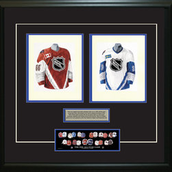 """Heritage Sports Art - Original art of the NHL 1997-98 NHL All-Star jersey - This beautifully framed piece features two pieces of original, one-of-a-kind artwork. Both images are glass-framed in an attractive two inch wide black resin frame with a double mat. The outer dimensions of the framed piece are approximately 28"""" wide x 24.5"""" high, although the exact size will vary according to the size of the original art. At the core of the framed piece is the actual piece of original artwork as painted by the artist on textured 100% rag, water-marked watercolor paper. In many cases the original artwork has handwritten notes in pencil from the artist. Simply put, this is beautiful, one-of-a-kind artwork. The outer mat is a rich textured black acid-free mat with a decorative inset white v-groove, while the inner mat is a complimentary colored acid-free mat reflecting one of the team's primary colors. The image of this framed piece shows the mat color that we use (Medium Blue). Beneath the artwork is a silver plate with black text describing the original artwork. The text for this piece will read: These are original, one-of-a-kind watercolor paintings of both of the 1997-98 NHL All-Star jerseys. These jersey images have been, and continue to be, used to celebrate the history of the NHL All-Star game in posters like the one shown below as well as game programs, magazines and websites across North America. Beneath the silver plate is a 3"""" x 9"""" reproduction of a well known, best-selling print that celebrates the history of the team. The print beautifully illustrates the chronological evolution of the team's uniform and shows you how the original art was used in the creation of this print. If you look closely, you will see that the print features the actual artwork being offered for sale. The piece is framed with an extremely high quality framing glass. We have used this glass style for many years with excellent results. We package every piece very carefully in a double layer of """