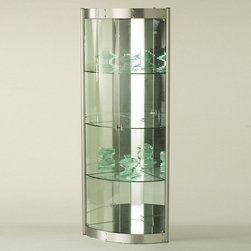 Chintaly Imports - Corner Curio with Mirrored Interior - Silver - Save on space without sacrificing style with this attractively designed corner curio cabinet. Features a silver frame with a contemporary curved shape front and glass shelves for an elegant look that is sure to accent any home.
