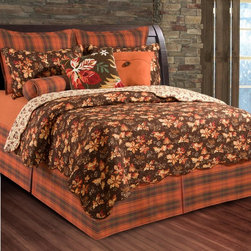 C and F Enterprises - C and F Enterprises Adirondacks Bedding Set Multicolor - CFID210 - Shop for Bedding Sets from Hayneedle.com! A seasonal delight the C and F Enterprises Adirondacks Bedding Set lets you settle into the comfort and warmth of fall. This quilt and bedding collection has an autumn color scheme with brown orange red and yellow botanical pattern against a chocolate brown background. The quilt is reversible and the set has accents of coordinating plaid. This handsome bedding set is made of comfy cozy cotton and is machine-washable. Make it your own by adding on a coordinating dust ruffle pillow shams and a variety of plump decorative throw pillows. It comes in your choice of size.Quilt Dimensions:Twin: 86L x 66W inchesFull/Queen: 92L x 90W inchesKing: 108L x 92W inches