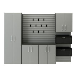 Flow Wall - RST Flow Wall 5-Piece Cabinet Starter Set - FCS-9612-6S-5S2 - Shop for Cabinets from Hayneedle.com! Transform your spare room tool shed basement or garage into an organized storage center with the RST Flow Wall 5-Piece Cabinet Starter Set. The slat-wall backing provides a perfect place for use with the 10 powder-coated steel X-hooks (each capable of holding 15lbs); the slat-board is made from a cellulous PVC and can support up to 100lbs per square foot available in your choice of espresso maple silver or while finishes. Several cabinets are included each made from high-density MDF and featuring a matching PVC laminate. Included are: (1) Tall cabinet - Dimensions: 24W x 16D x 72H in.; Includes (3) shelves each shelf has a weight capacity of 50 lbs. (1) Base cabinet - Dimensions: 24W x 16D x 26H in.; Includes (1) shelf the shelf has a weight capacity of 50 lbs. (1) Wall cabinet - Dimensions: 24W x 12D x 26H in.; Includes (1) shelf the shelf has a weight capacity of 50 lbs. (1) 3-drawer cabinet - Dimensions: 24W x 16D x 26H in. drawers are 21.5W x 15D x 6.25H in.; Drawer weight capacity: 50 lbs each. (2) Soft storage bins the bins are supported by a steel frame with a nylon bin and mesh front. Dimensions: 24W x 12D x 12H in.; Weight capacity: 60 lbs each. (10) X-Hooks - Dimensions: 1.25W x 2D in.; Weight capacity: 15 lbs each About Flow WallPut you workshop on the wall! We often hesitate to wall-mount equipment storage because it's just so permanent. The innovative Flow Wall system changes all that providing a simple system where shelves hooks cabinets bins and more simply switch places at will. By placing a custom-shaped Flow Wall where there was none you've opened up a world of possibilities without locking yourself into one design. Perfect for the laundry room rec room garage workshop class room craft area and so much more Flow Wall is the answer when your back's up against a wall.