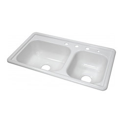 """Lyons - Lyons Deluxe DKS01R3.5 Acrylic Kitchen Sink - Lyons Industries Manufactured or Mobile home White acrylic kitchen sink with one large 7"""" deep, one smaller 7"""" deep sink bowl and four faucet holes. This self rimming 33""""X19"""" sink is easy to install as a remodel or new construction project. This sturdy sink has durable easy to clean high gloss acrylic construction with a fiberglass reinforced insulation backer. This sink is quiet and provides a superior heat retention than other sink materials meaning your dish water stays warm longer. Lyons sinks come with a simple mounting tab and clip system to firmly fasten the sink to the countertop and reinforced drain areas for safely supporting a garbage disposal. Detailed installation instructions include the cut-out specifications. Lyons sinks are proudly Made in America by experienced artisans supporting our economy."""
