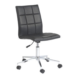 None - CYD Black Office Chair - Luxury and comfort combine to create this CYD office chair. This chair features a sleek chrome finished frame and a soft foam filled black leatherette upholstered seat.