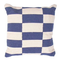 """Jaipur Rugs - Blue/Ivory color cotton matrix poly fill pillow 18""""x18"""" - Corsica are flatweave dhurri styled pillows in pastels and bright colors to liven any d�cor."""