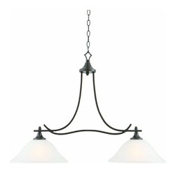 DHI-Corp - Juneau 2-Light Energy Star Island Pendant, Oil Rubbed Bronze - The Design House 515817 Juneau 2-Light Energy Star Island Pendant is made of formed steel, frosted glass and finished in oil rubbed bronze to provide a soft, warm glow. This pendant's versatile design is applicable for high or low ceilings. As a laid-back alternative to a chandelier, this fixture maintains a sophisticated appeal while delivering indirect light with a pleasing aesthetic. Energy Star qualified, this 2-light island pendant is rated for 120-volts and uses (2) 13-watt GU24 compact fluorescent lamps. This fixture's flowing arms create a clean, contemporary profile that matches traditional or modern furnishings. Measuring 26-inches (H) by 35.75-inches (W), this 8.24-pound pendant comes with a 48-inch chain that converts this ceiling mounted light to an elegant chandelier. Energy Star products meet strict energy efficiency guidelines set by the U.S. Environmental Protection Agency and the U.S. Department of Energy to maintain a greener home. This product is UL and CUL listed and adheres to industry standards for safety and quality assurance. The Juneau collection features a beautiful matching chandelier, vanity light, wall sconce, wall mount and mini pendant. The Design House 515817 Juneau 2-Light Energy Star Island Pendant comes with a 2-year limited warranty that protects against defects in materials and workmanship. Design House offers products in multiple home decor categories including lighting, ceiling fans, hardware and plumbing products. With years of hands-on experience, Design House understands every aspect of the home decor industry, and devotes itself to providing quality products across the home decor spectrum. Providing value to their customers, Design House uses industry leading merchandising solutions and innovative programs. Design House is committed to providing high quality products for your home improvement projects.