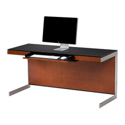 BDI - BDI Sequel Desk - The minimalist Sequel Desk by BDI is a perfect fit for the modern office. The overall look is sleek with steel base, 3 wood veneer color options, and black micro-etched glass surface. Features include a desk drawer, internal power strip, and integrated cord management.