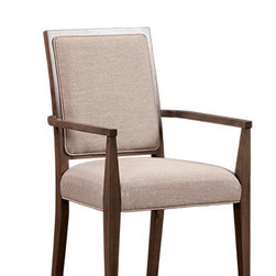 Perrison Dining Arm Chair - Traditionally conceived, beautiful in approach. Solid birch construction. Alternate fabrics and finishes available with no upcharge. Full dining collection available. Dining table SKU#053550. Credenza SKU#053553. Made in Canada.