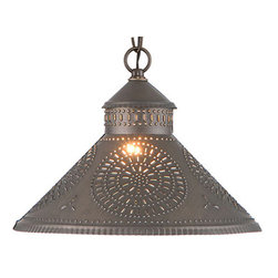 Irvins Country Tinware - Stockbridge Shade Light with Chisel Design, Kettle Black - Designed to be smaller in size so that it can be used above a sink or in pairs above a kitchen island. Finished with a fine crimping on the edges and a rustic punched chisel design.