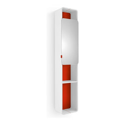 WS Bath Collections - Bej Red Cabinet With Mirrored Door - Bej 8015.11 Cabinet with Mirrored Door in Red, Cabinet with Mirrored Door In Red, Free Standing, Made in Italy