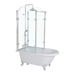 "Baths of Distinction - Oasis Vintage Clawfoot Tub, Bright White, Chrome, 65"" - Fantastic vintage tub/shower combination. The inspiration for this innovative new product came from an 1880's Victorian England canopy tub. Very affordable and often less expensive than just adding a simple shower. A good size showering area makes it ideal for customers who want the best of both worlds with limited space."