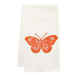 "artgoodies - Organic Butterfly Tea Towel - This high quality 100% certified organic cotton tea towel was custom made just for artgoodies! Hand printed with one of my original linocut block print images it measures 20""x28"" and comes wrapped in a green ribbon made from 100% recycled plastic bottles! Nice and absorbent for drying dishes, looks great when company is over, and makes a great housewarming gift!"