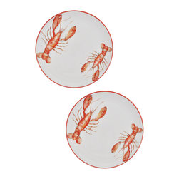 "Abbiamo Tutto - Lobster Extra Large Dinner Plate/Serving Dish 12.5""d - SET OF 2 - Abbiamo Tutto's Lobster Extra Large Dinner Plates/Serving dishes are hand decorated and painted in Italy. A lobster water color design is featured on each piece."