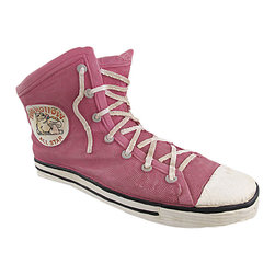 Zeckos - All Star Canvas High Top Sneaker Planter Pink - Add a unique touch to your garden with this all star planter Made of cold cast resin, it looks like a popular canvas high top sneaker and can accommodate a 4 inch diameter plant. The shoe measures 12 1/2 inches long, 7 1/2 inches tall, and 7 inches wide. It is highly detailed, from the texture of the canvas and shoelace to the white circular emblem displaying the 'Toad Hollow All Star' brand. It makes a great housewarming gift, and is sure to get a second glance displayed as a pair