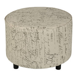 Cortesi Home - Shakespeare Medium Size Round Ottoman - The Shakespeare round ottoman is a decorative and functional accent to your home decor. Upholstered in a vintage style french script fabric and features a piping accent. Final touches include non marking black plastic feet and a solid wood frame. Lightweight yet durable.