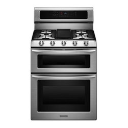 """KitchenAid - Architect Series II KGRS505XSS 30"""" Freestanding Double Oven Range with 5 Sealed - The KitchenAid KGRS505X double-oven gas range features an Even-Heat true convection lower oven it provides consistent heating and even cooking on all racks with a unique design and convection fan that helps ensure no burnt edges or undercooked center..."""