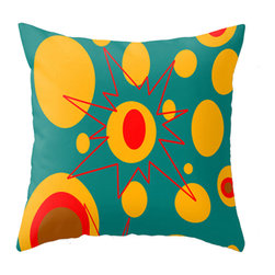 Crash Pad Designs Mod Throw Pillow(oliver) - A fun pillow can change an entire room. style your room with our mod pillows. On a sofa , a  chair , or bed it's sure to make you smile. Double sided print. Woven poly poplin w/ a hidden zipper closure & a polyester fill insert .Machine washable. 18x18 Your pillow is made to order, allow 7-10 days for shipping