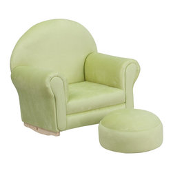 Flash Furniture - Flash Furniture Kids Green Microfiber Rocker Chair and Footrest - Kids will now get to enjoy furniture designed specifically for their size! This charming set is sure to become your child's favorite chair. The rocker base will allow kids to gently rock while watching TV or reading their favorite book. This portable chair is great for seating in any room. The microfiber upholstery ensures easy cleaning and will hold up against your active child.